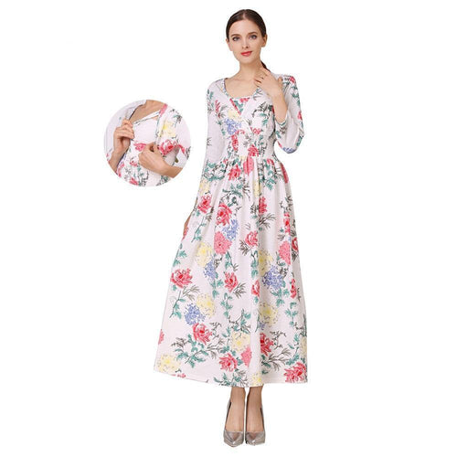 NEW Floral Cotton Blend Maternity Clothes for Pregnant Women Lactation Dress Long Breastfeeding Dresses