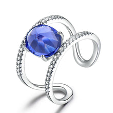 Load image into Gallery viewer, Real 925 Sterling Silver Rings For Female Birthstone Tanzanite Gemstone Ring Silver Wedding Engagement Band  Jewelry