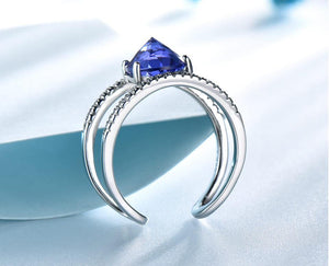 Real 925 Sterling Silver Rings For Female Birthstone Tanzanite Gemstone Ring Silver Wedding Engagement Band  Jewelry