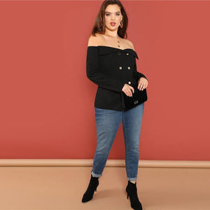 Plus Size Black Button Off Shoulder Top Elegant Blouse Shirt  Autumn Long Sleeve Office Womens Tops And Blouses