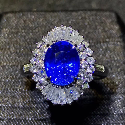 gemstone jewelry luxury 18k yellow gold real diamond natural blue sapphire gold ring for women wedding