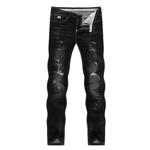 Distressed Male Stretch Jeans Black Winter Streetwear Ripped Men Casual Pants Slim Hiphop Cowboys Trousers