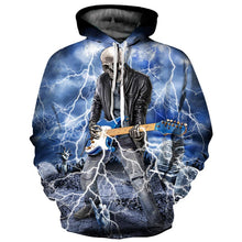 Load image into Gallery viewer, Brand Hoodies Men/Women Thin Cool Fashion 3d Sweatshirts Print Lightning Playing Guitar Skull Hooded Hoodies - moonaro