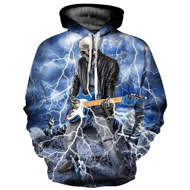 Brand Hoodies Men/Women Thin Cool Fashion 3d Sweatshirts Print Lightning Playing Guitar Skull Hooded Hoodies - moonaro