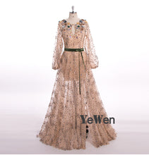 Load image into Gallery viewer, Long Sleeve Robe De Soiree Elegant Evening Dresses Beaded Flower Crystal Gala Prom Party Gown Dress
