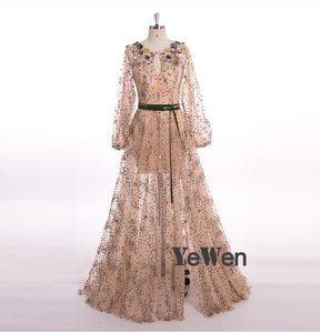 Long Sleeve Robe De Soiree Elegant Evening Dresses Beaded Flower Crystal Gala Prom Party Gown Dress