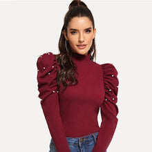 Load image into Gallery viewer, Burgundy Pearls Beads Mock Neck Puff Sleeve Christmas Elegant Blouse  Autumn Fashion Sweet Women's Tops And Blouses