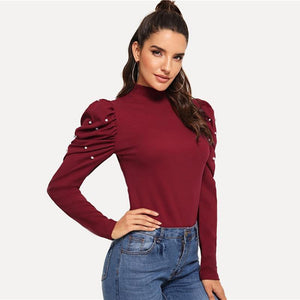Burgundy Pearls Beads Mock Neck Puff Sleeve Christmas Elegant Blouse  Autumn Fashion Sweet Women's Tops And Blouses