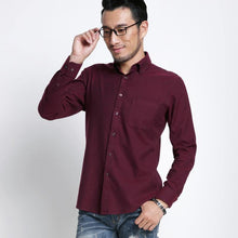Load image into Gallery viewer, Men's Smart Casual Slim-fit Solid Brushed Flannel Shirts Comfortable Soft Non-iron Midweight Long Sleeve Button-down Dress Shirt