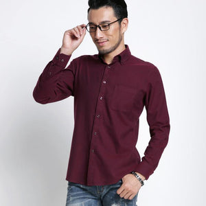 Men's Smart Casual Slim-fit Solid Brushed Flannel Shirts Comfortable Soft Non-iron Midweight Long Sleeve Button-down Dress Shirt