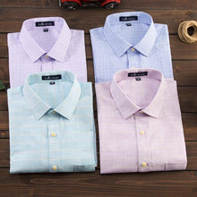 Load image into Gallery viewer, Men's Regular-fit Short Sleeve Cotton Linen Shirts Patch Single Chest Pocket Male Work Office Brief Thin Plaid Print Dress Shirt