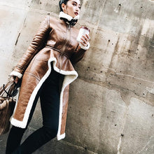 Load image into Gallery viewer, 2019 Spring Woman New Brown Color Long Sleeve Zipper Stand Collar Imitation Lamb wool Spliced Irregular Coat - moonaro