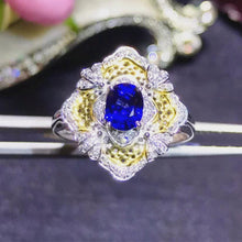 Load image into Gallery viewer, luxury 18k yellow gold South Africa real diamond natural blue sapphire ring for women