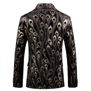 Luxury Gold Black Velvet Blazer Hombre Baroque Fancy Prom Wedding Slim Fit Blazer  Suit Jacket Men