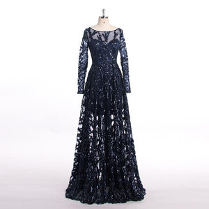 Royal Blue O-Neck Lace Evening Dresses Long Sleeves Sequin Luxury Sexy Party Prom Gown Floor-Length robe de soiree