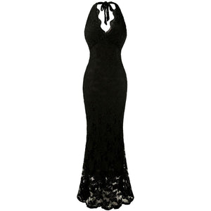 Halter V neck Lace Evening Dresses Stretchy Plus size Formal Party Gown Black