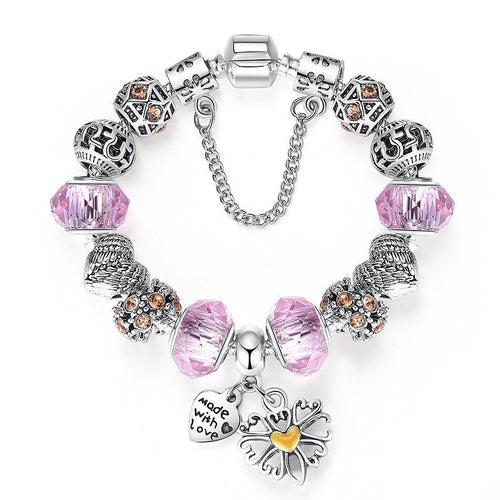 Silver Heart Charm Bracelet with Pink Glass Beads