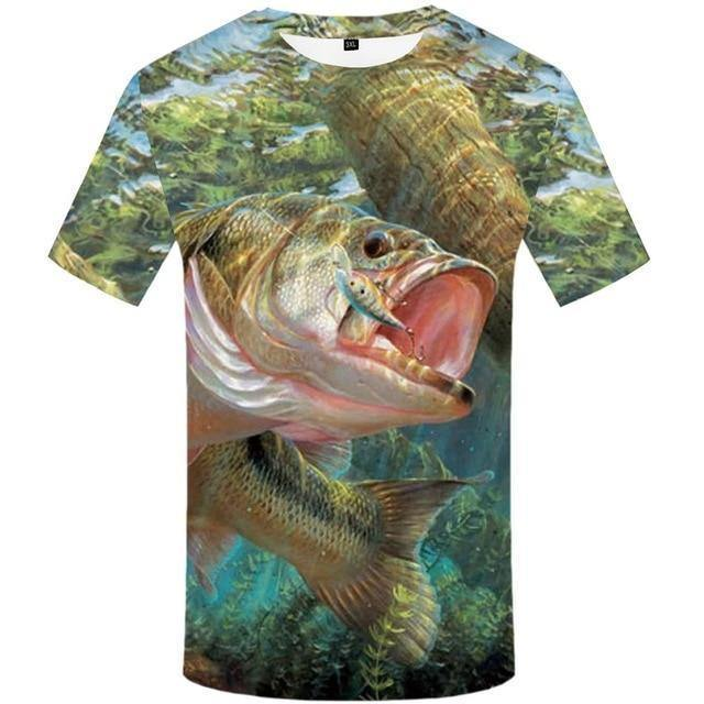 Fish 3d T Shirt Men Hip Hop Tshirt Fisherman Tropical Print T-shirt Funny T Shirts Summer Fisher Animal Men's Clothing
