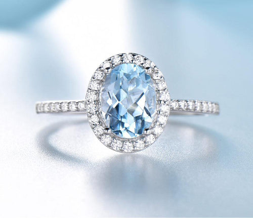Sky Blue Topaz Gemstone Rings For Women Genuine 925 Sterling Silver Ring Oval Romantic Gift Luxury Engagement Jewelry