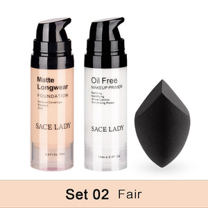 Professional Makeup Set Matte Foundation Primer Base Make Up Kit Oil-control Pores Liquid Cream Brand Cosmetic Puff