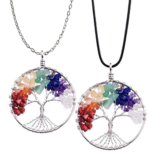 7 Chakra Quartz Natural Stone Tree of Life pendulum Pendant Necklace for Women  Healing Crystal Necklaces - moonaro