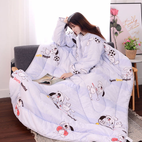 Winter Lazy Quilt With Sleeves Quilt Winter Warm Thickened Washed Quilt Blanket