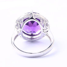 Load image into Gallery viewer, Amethyst Sterling Silver Ring For Women 8 Carats Amethyst Crystal Top Quality Amethyst Birthday Gift Party Wedding Ring - moonaro