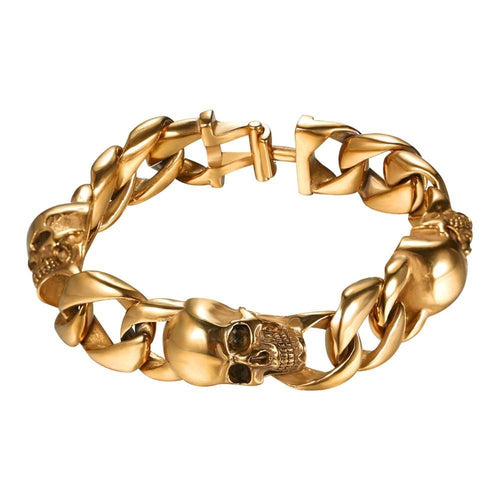 Skull Bracelets Cuban Link Skeleton Rocker Punk Bangle Stainless Steel Gold Color Bracelet Gift Men Jewelry