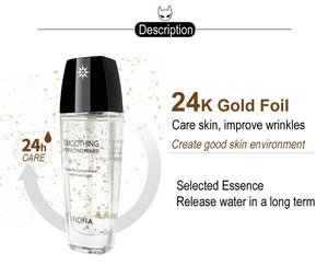 Professional 24k pure gold Moist Transparent Smoothing Pores Foundation Primer Liquid Cream for makeup base, brightener