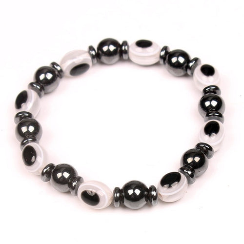 Magnetic Therapy Black Bracelet Slimming Gallstone Elastic Blue Round Eye Body Fat Cellulite Weight Loss