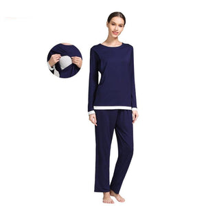 Soft Long sleeve Maternity Wear Nursing Pajamas Sleepwear Set Women Pregnant Nightwear Hospital Lacation Clothes
