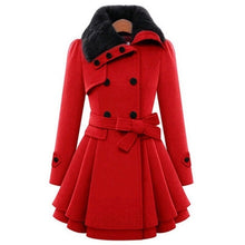 Load image into Gallery viewer, Winter Jacket Women Woolen Trench Coat 2018 Double Buckle Windbreaker Autumn Thicken Coats Female Jacktes all Size till 4XL