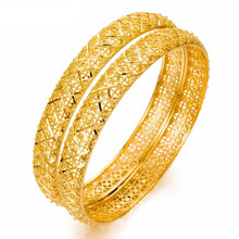 Load image into Gallery viewer, 1pcs BIG Luxury Bangles For Women 24k Gold Color Bangle  Gold Color Jewelry Wedding Bracelets gifts - moonaro