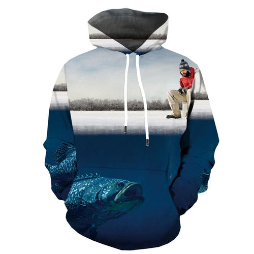 Hoodies Men Fish 3d Hoodie Animal Printed Sweatshirt Hooded Tropical Fisher  Men's Clothing Casual Pullover