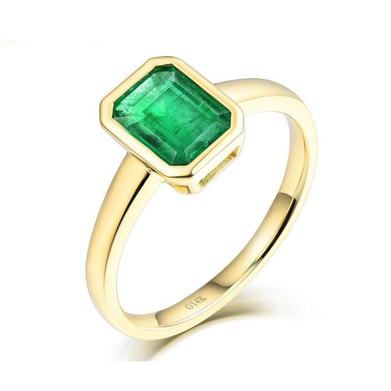 Simple Design Wedding Fine Jewelry Solid 14K Yellow Gold Natural Emerald Promised Rings for Women