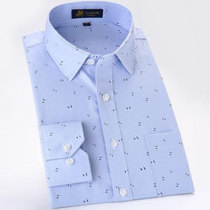 Men's Long Sleeve Print Oxford Dress Shirt Patch Left Chest Pocket High-quality Smart Casual Regular-fit Work Office Top Shirts