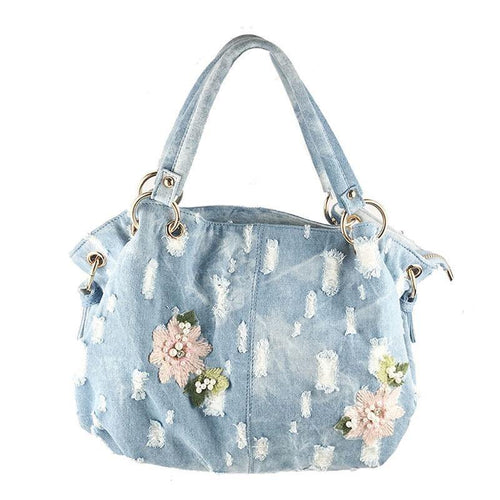 Denim  Women Bag Luxury Messenger Bags Embroidery Flower Handbags High Quality totes