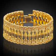 Load image into Gallery viewer, 25MM Wide Geometric Patterned Bracelet Gold Filled Thick Bangle - moonaro