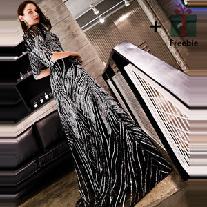 Sliver Black Sequined O-neck Half Sleeve A-line Floor-length Dinner Gowns