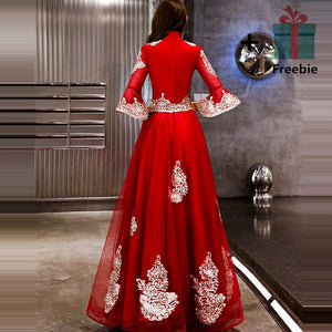 Vintage Red Gold Embroidery Beading Flare Sleeve A-line Dinner