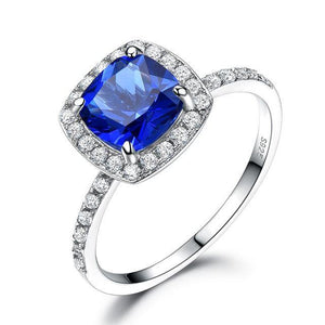Blue Sapphire Gemstone Ring 100% 925 Sterling Silver Rings For Women Wedding Engagement Party Band Brand Fine Jewelry - moonaro
