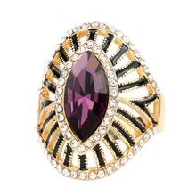 Load image into Gallery viewer, Fashion Gold Crystal Rings For Women Vintage Purple Glass Black Enamel Hollow Ring Trendy Bohemian Jewelry - moonaro