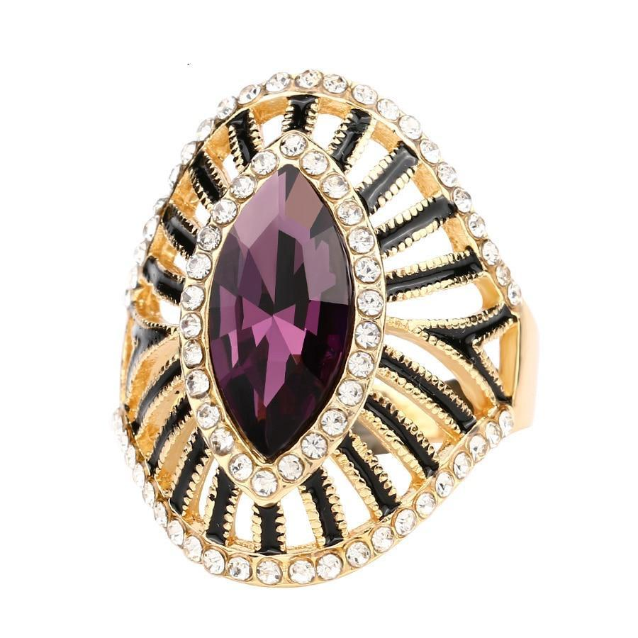 Fashion Gold Crystal Rings For Women Vintage Purple Glass Black Enamel Hollow Ring Trendy Bohemian Jewelry - moonaro