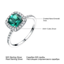 Load image into Gallery viewer, 925 Sterling Silver Rings For Women Emerald Ring Birthstone Green Gemstone Wedding Band Romantic Statement Jewelry - moonaro