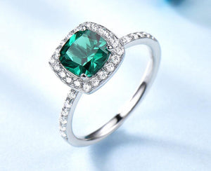 925 Sterling Silver Rings For Women Emerald Ring Birthstone Green Gemstone Wedding Band Romantic Statement Jewelry - moonaro