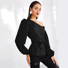 Load image into Gallery viewer, Black Asymmetric Shoulder Bishop Sleeve Blouse Women  Winter Fashion Elegant Belted Tops Office Ruffle Shirts - moonaro