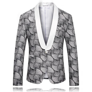 Slim Fit Men's Christmas Blazer Jacket Shawl Collar Men Blazer Designs Fashion Printed Party Prom Stage Blazers