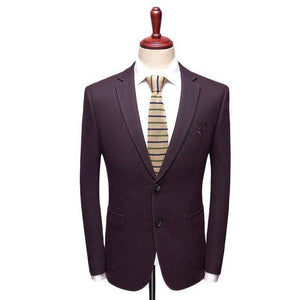 2019 New Arrival Slim Fit Embroidery Blazer Jacket Navy Burgundy Wool Blazer Men Middle-aged Blazers Casual Hombre - moonaro