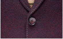 Load image into Gallery viewer, 2019 New Arrival Slim Fit Embroidery Blazer Jacket Navy Burgundy Wool Blazer Men Middle-aged Blazers Casual Hombre - moonaro