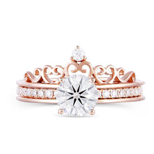 Load image into Gallery viewer, Couronne Design 14K 585 Rose Gold 1 Carat 6.5MM F Color Moissanite Stackable Bridal Ring Set for Women - moonaro